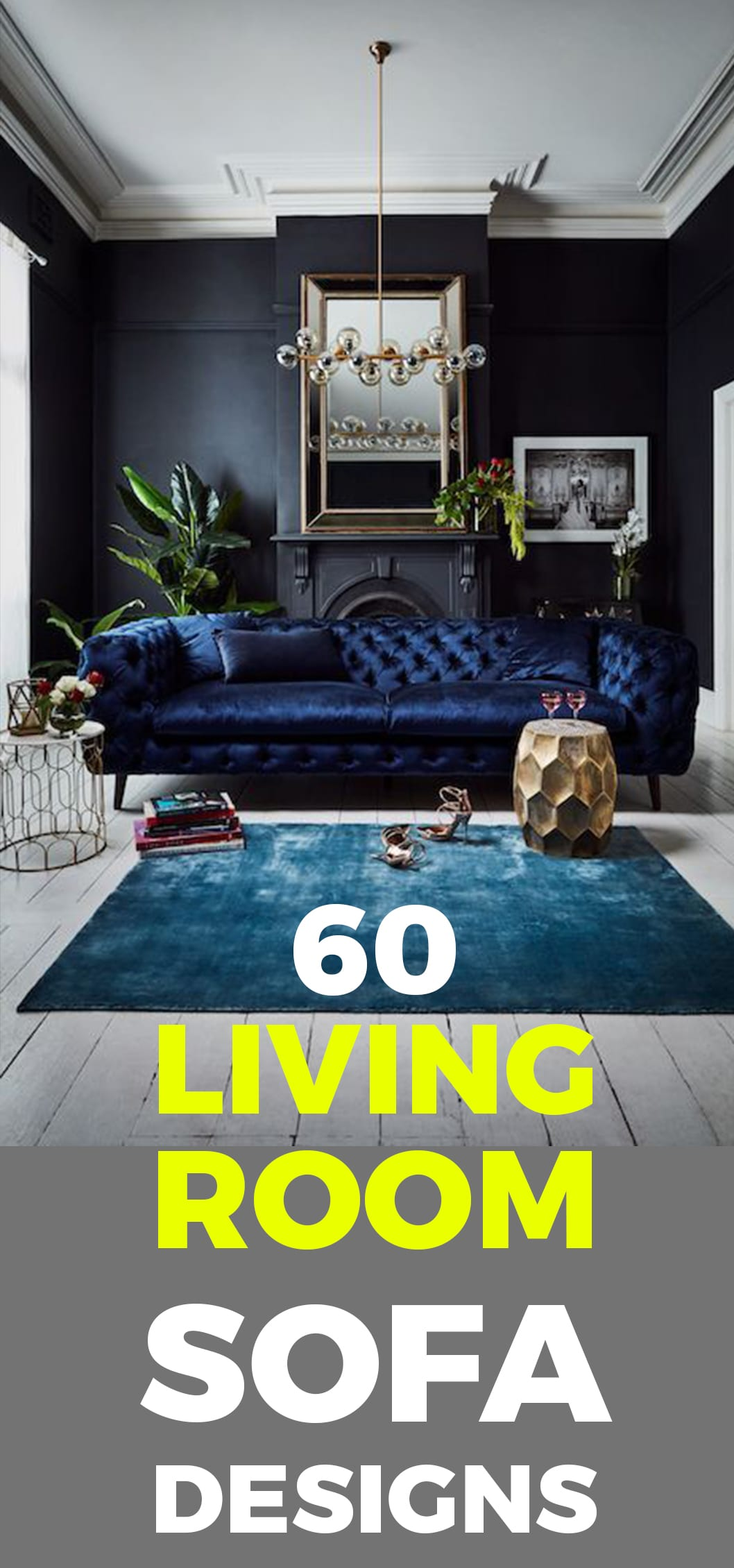 Blue velvet living room sofa ideas in 2019.