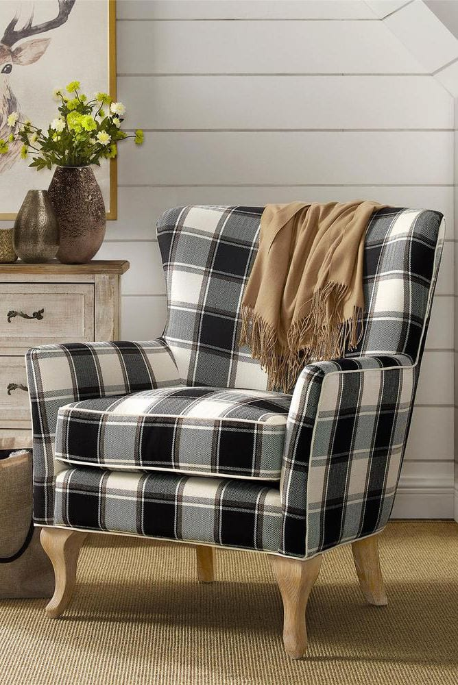 Checkered Pattern Accent Chair