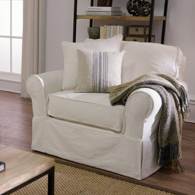Classic Natural Fabric Arm Chair for living room