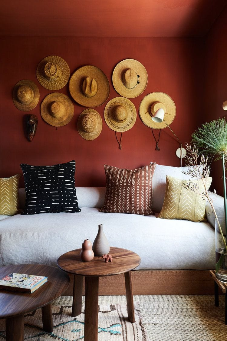 Different shaped hats on the wall for decor ideas