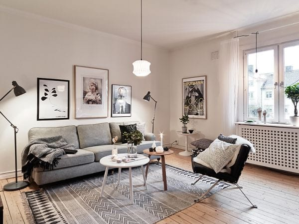 Grey Scandinavian living room design ideas