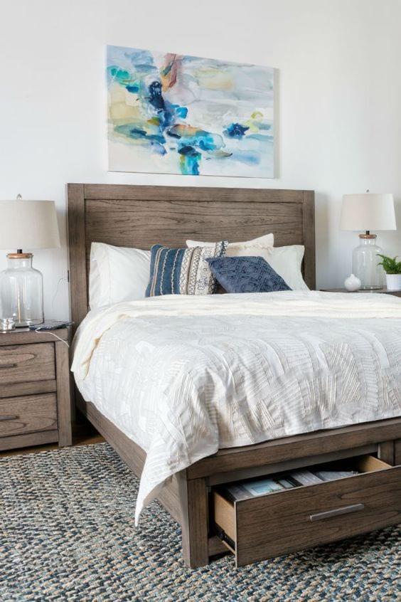 Grey stone storage bed Ideas