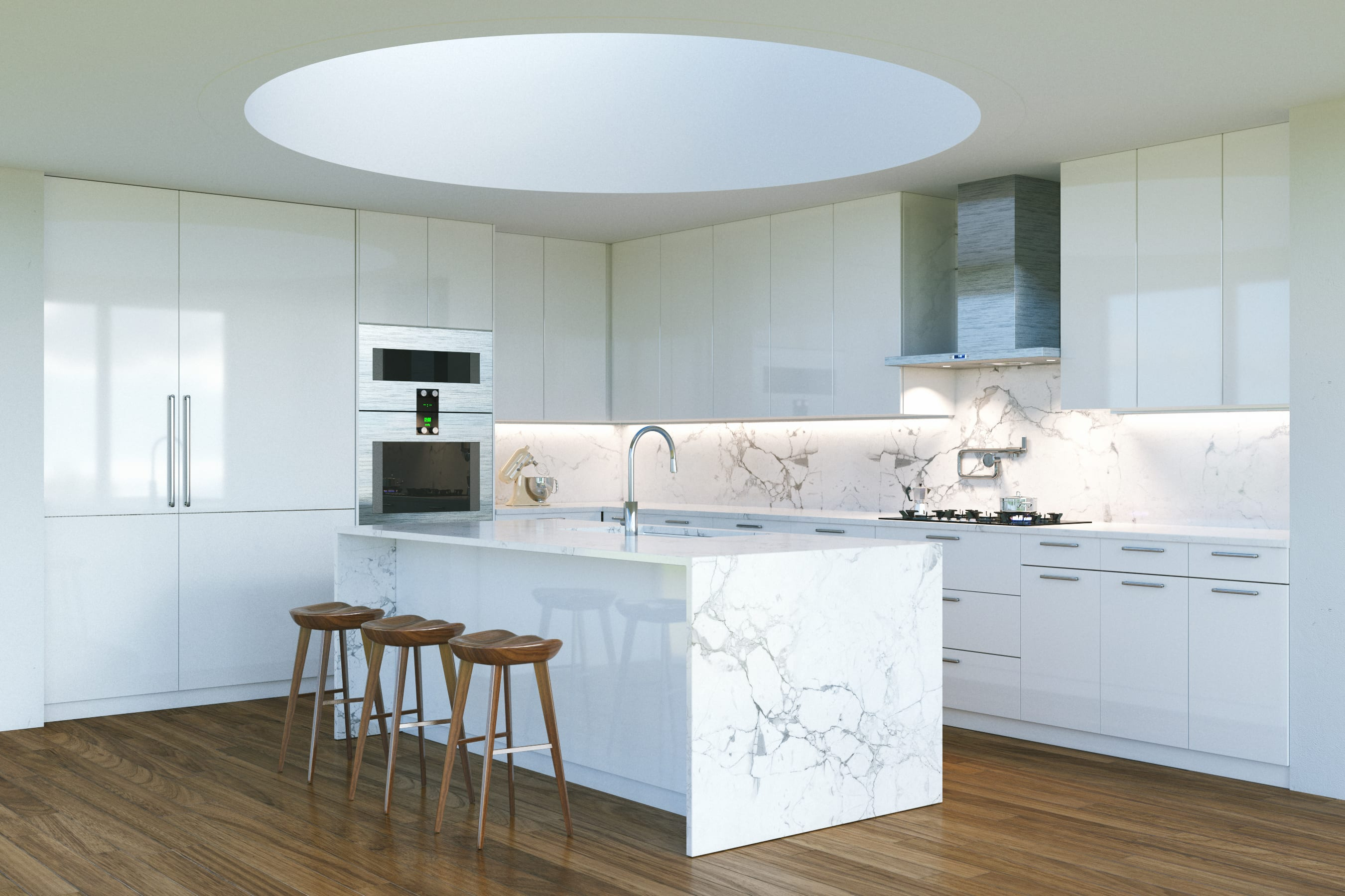 New Contemporary White Kitchen Interior with round second light window