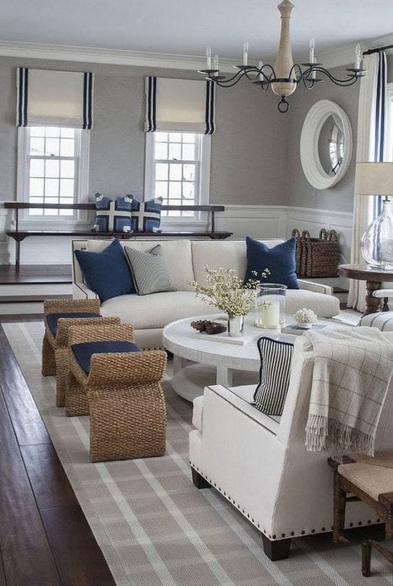 NAVY BLUE LIVING ROOM DECOR IDEAS