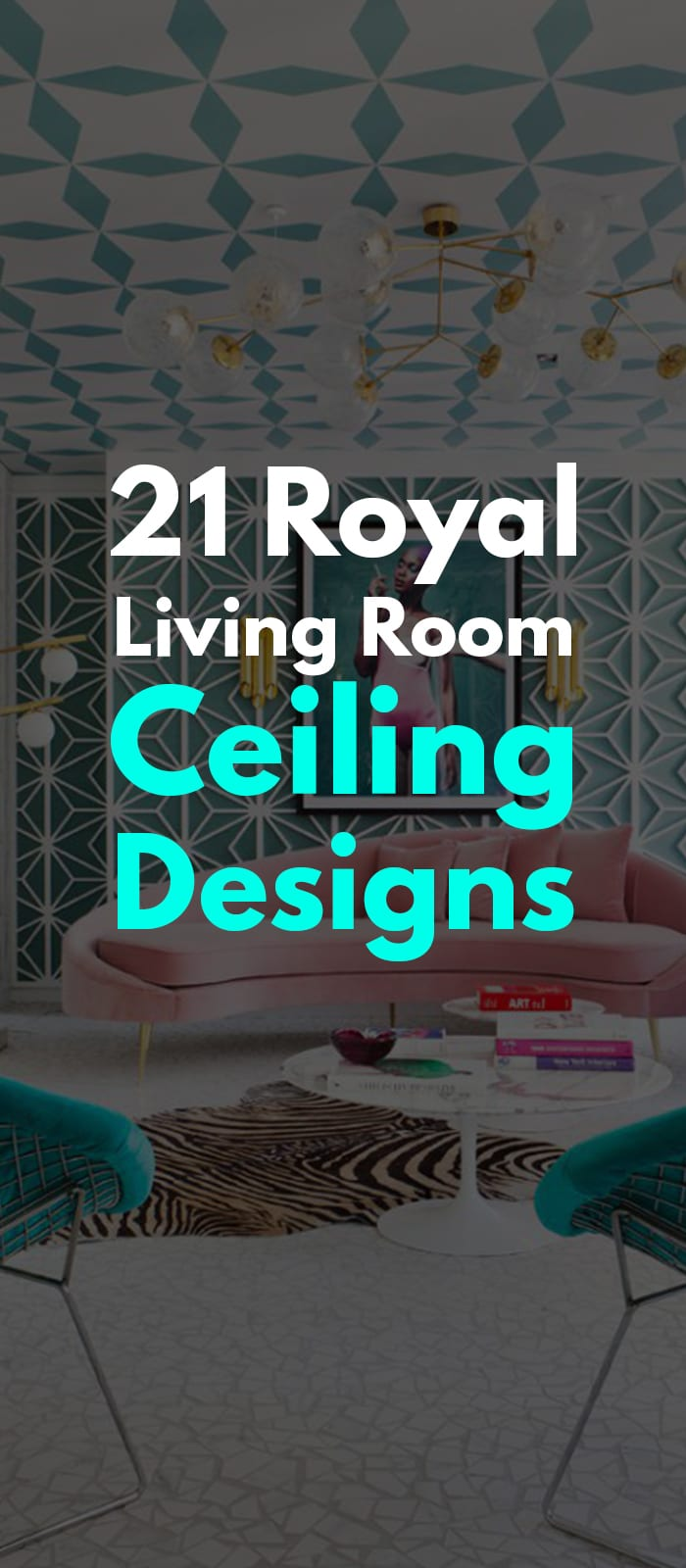 Patterned ceiling design for living room.