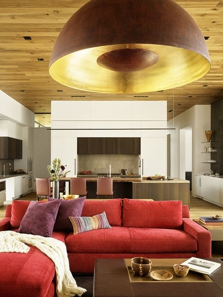 Red living room sofa ideas in home decor