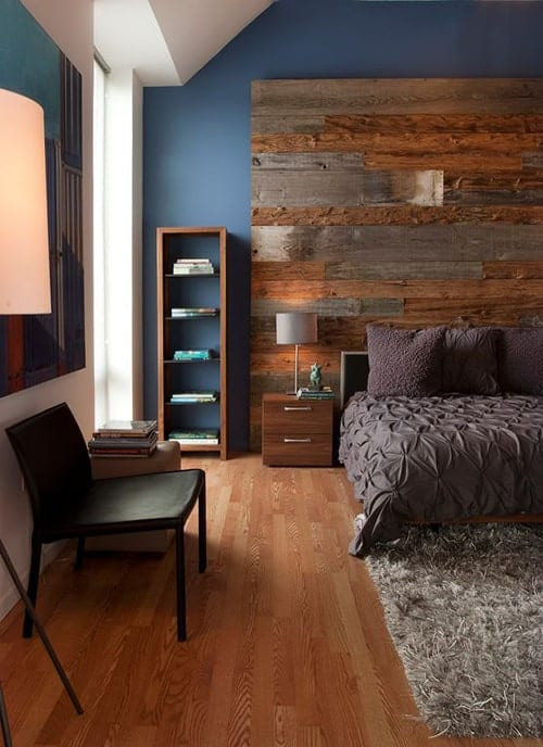 Wood Headboard Rustic bedroom