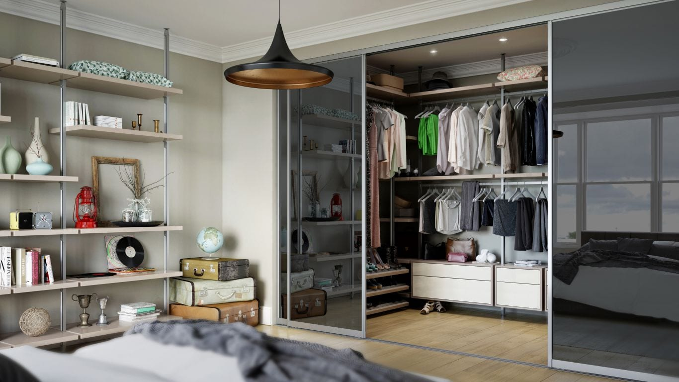 Wardrobe Behind Mirror Door Design Ideas