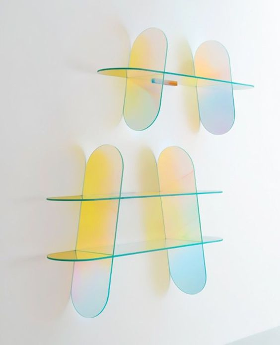12. Iridescent glass shelves one should try which looks fresh and rejuvenate us