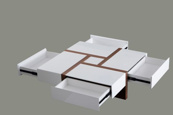 1. Dark Walnut and white solid surface square coffee table having utility drawers