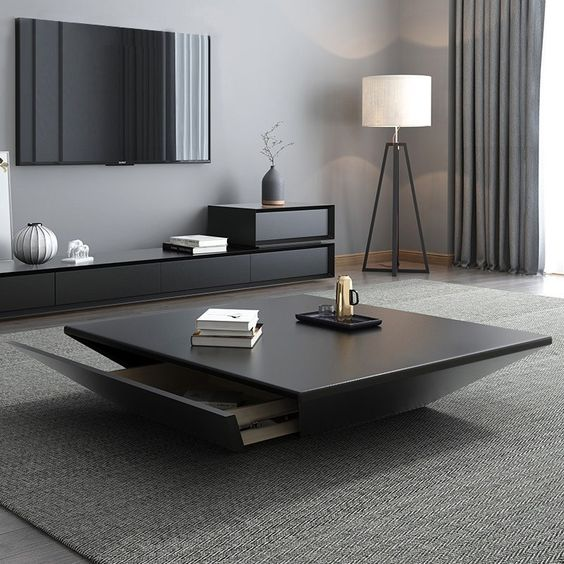 2. Beautiful square coffee table design with tappered base and utility space