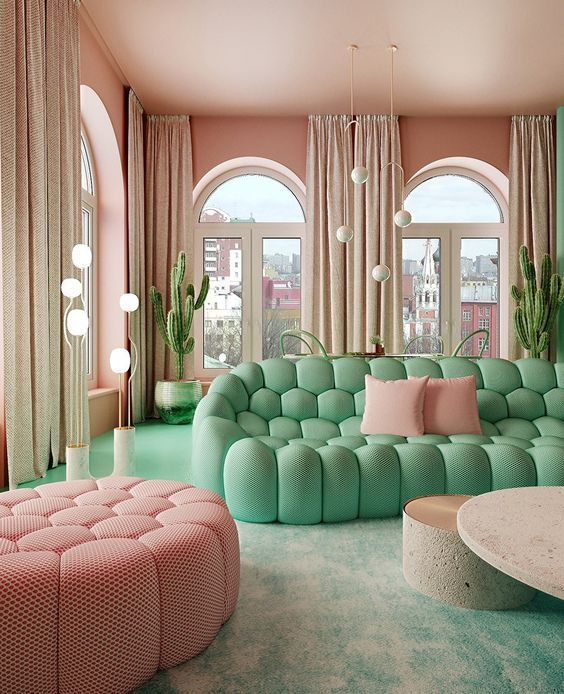 41. Bubble sofa in pastel fresh colours to fill the space in colors
