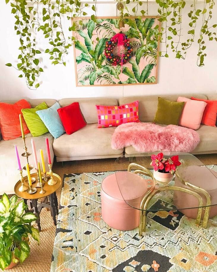 Bold Color Cushions- Houseplants- Rug Decor for Boho Home