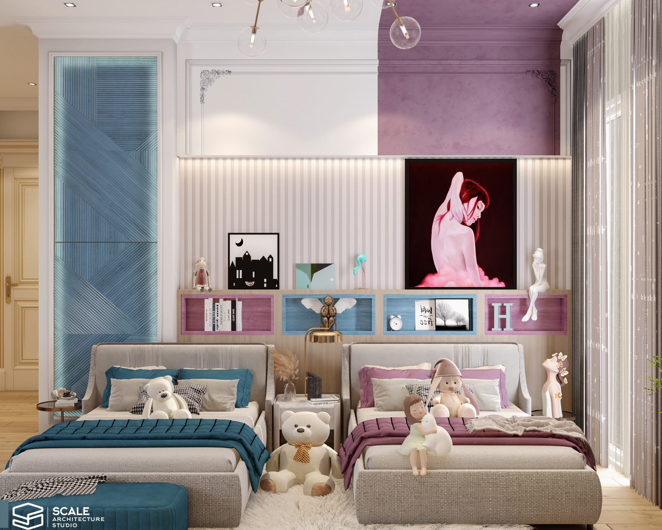 Adorable Pink and Blue Theme Bedroom ideas for girl and boy