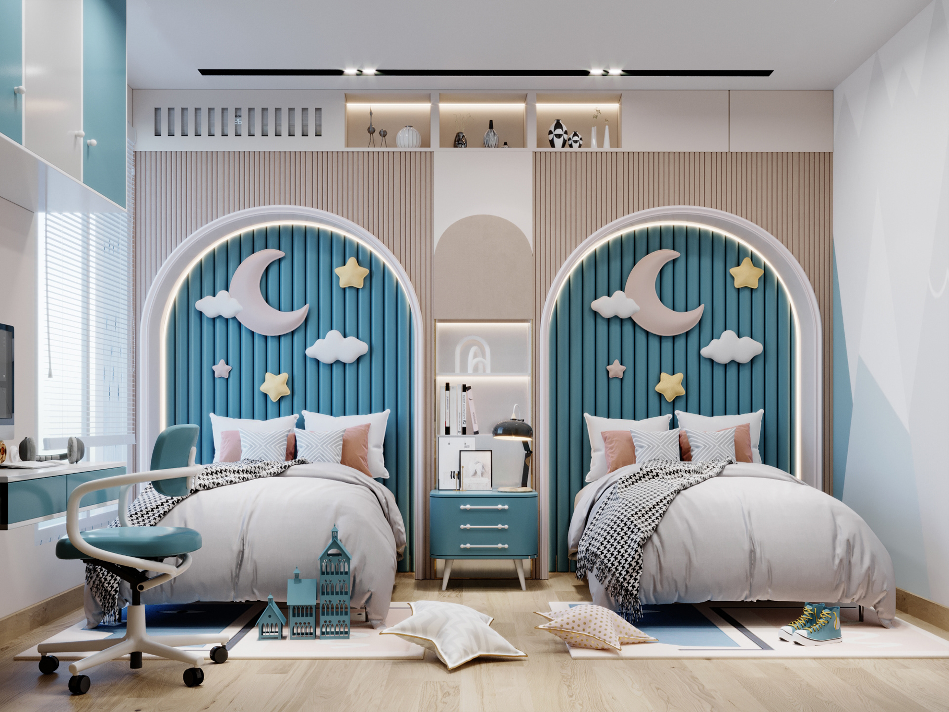 Cool Boys Sky Theme Bedroom with shared beds