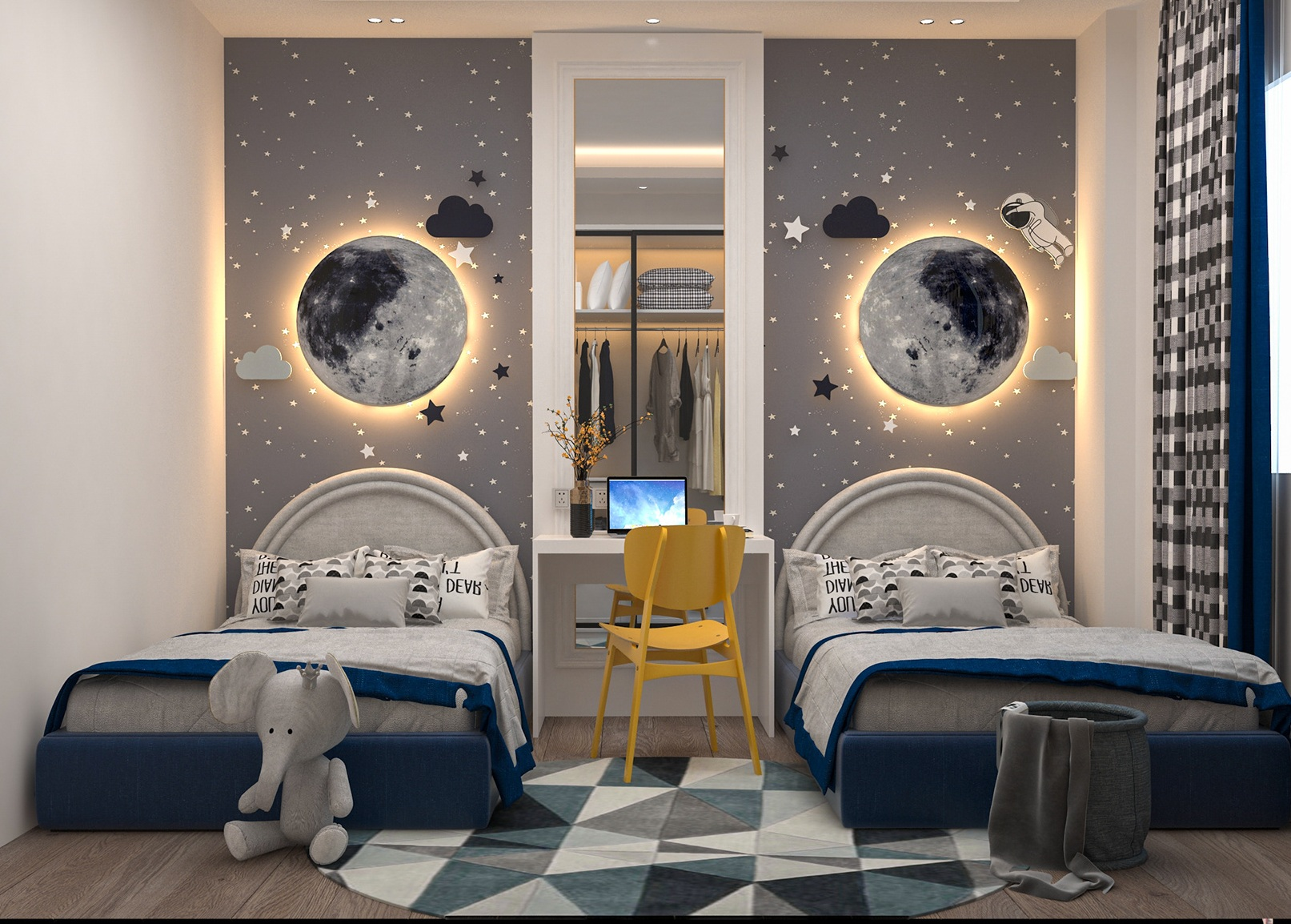 Cool Moon and Astronaut Theme Bedroom For Boys