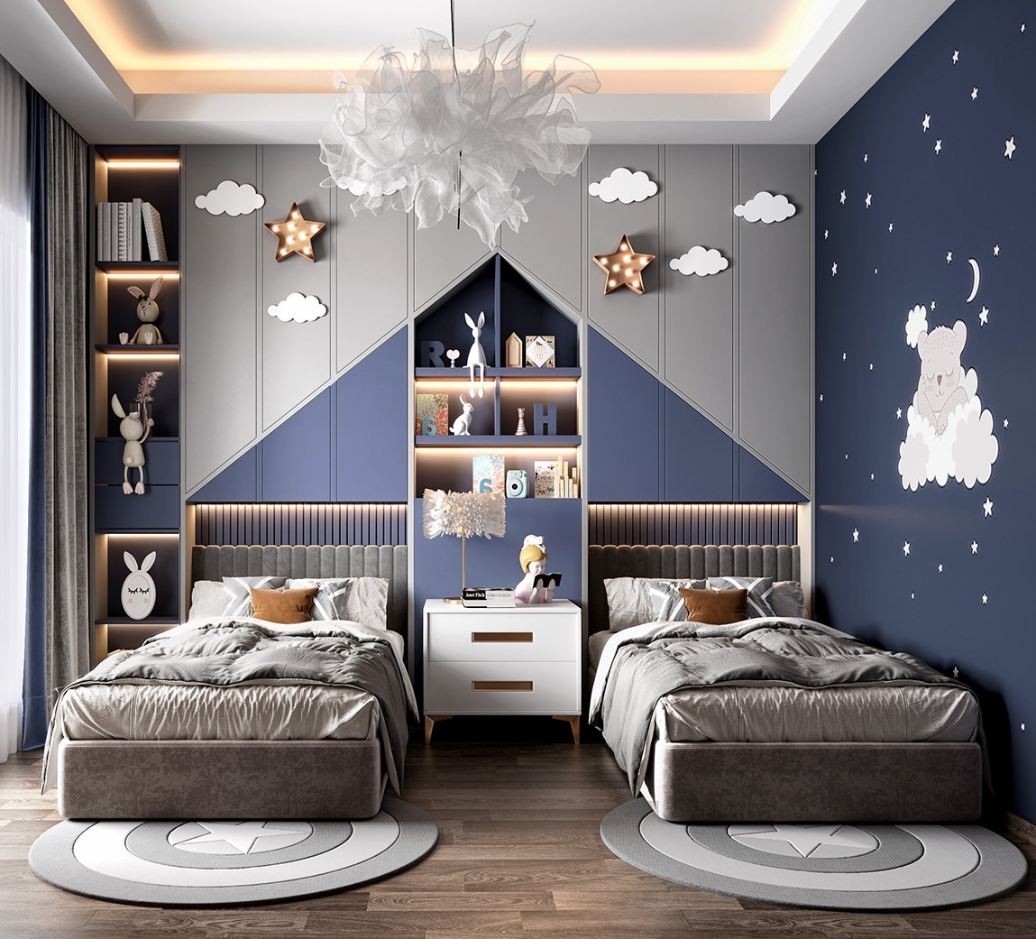 Cute Grey and Blue Bunny Theme Kids Shared Bedroom