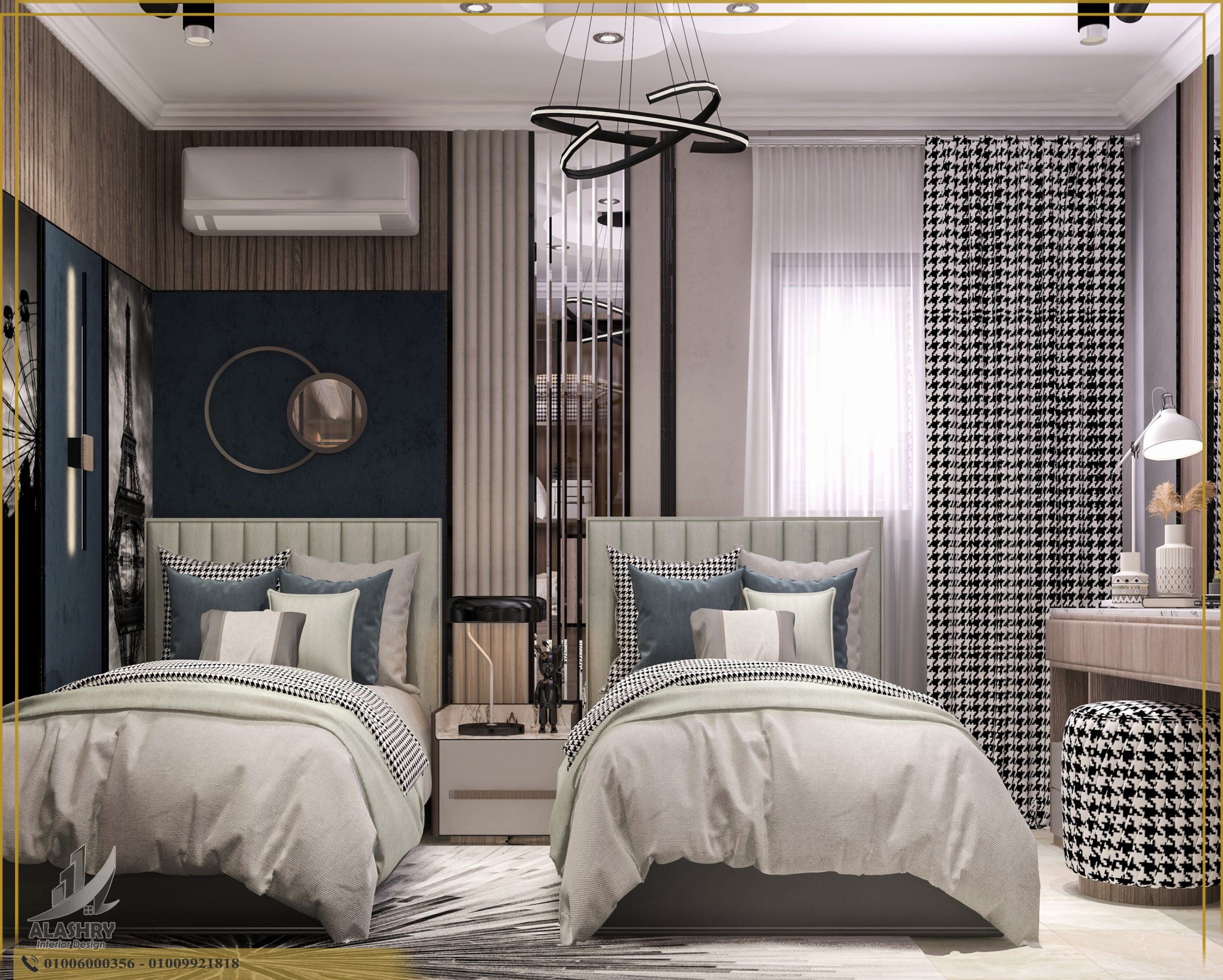 Kids shared bedroom ideas with twin beds and modern curtains