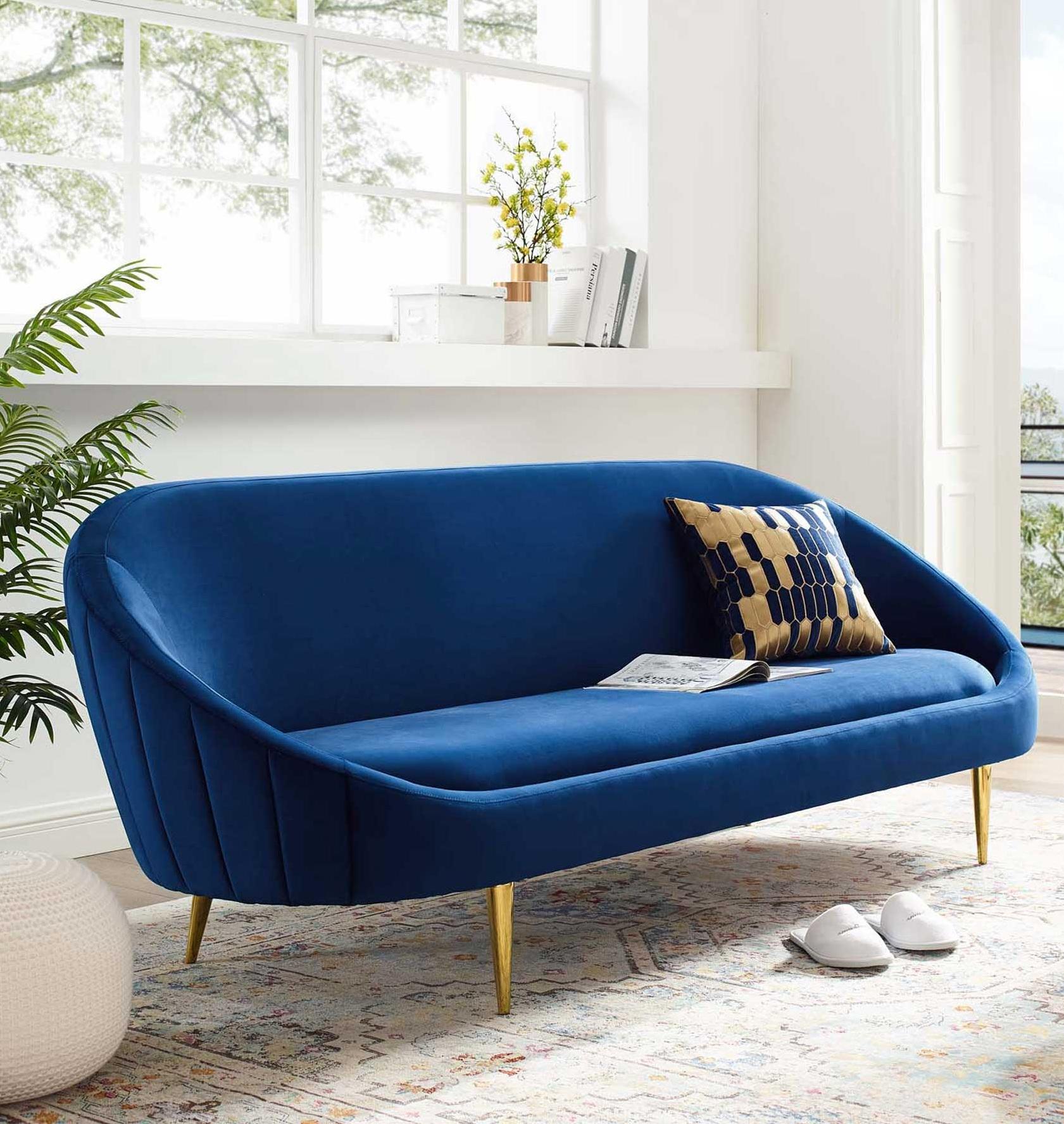 Mid Century Modern Blue Velvet Sofa Design Ideas