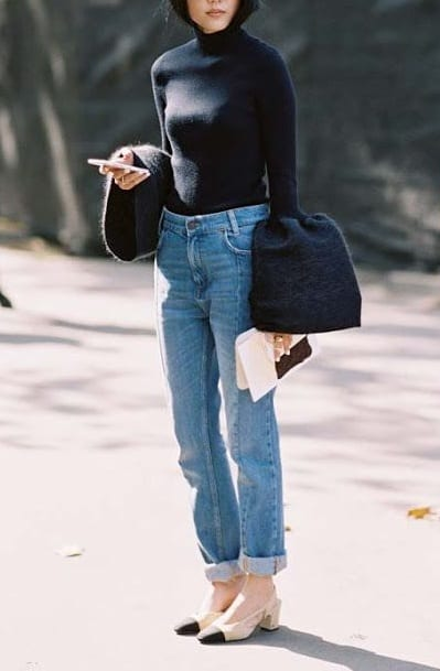 pair sling back heels with turtle neck t shirt