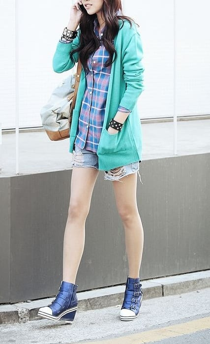 pair wedge heels with jackets