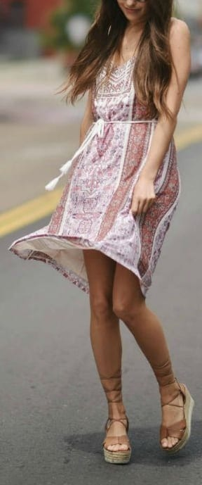 pair wedge heels with short dresses