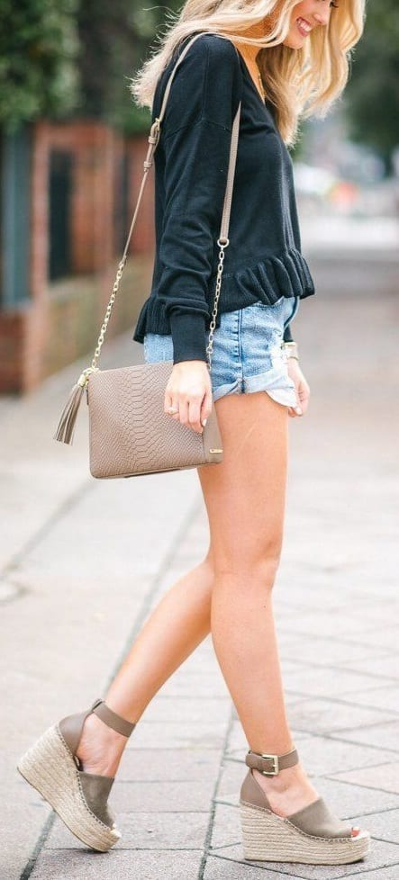 pair wedge heels with shorts