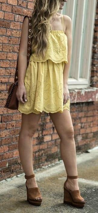 pair wedge heels with swing dress