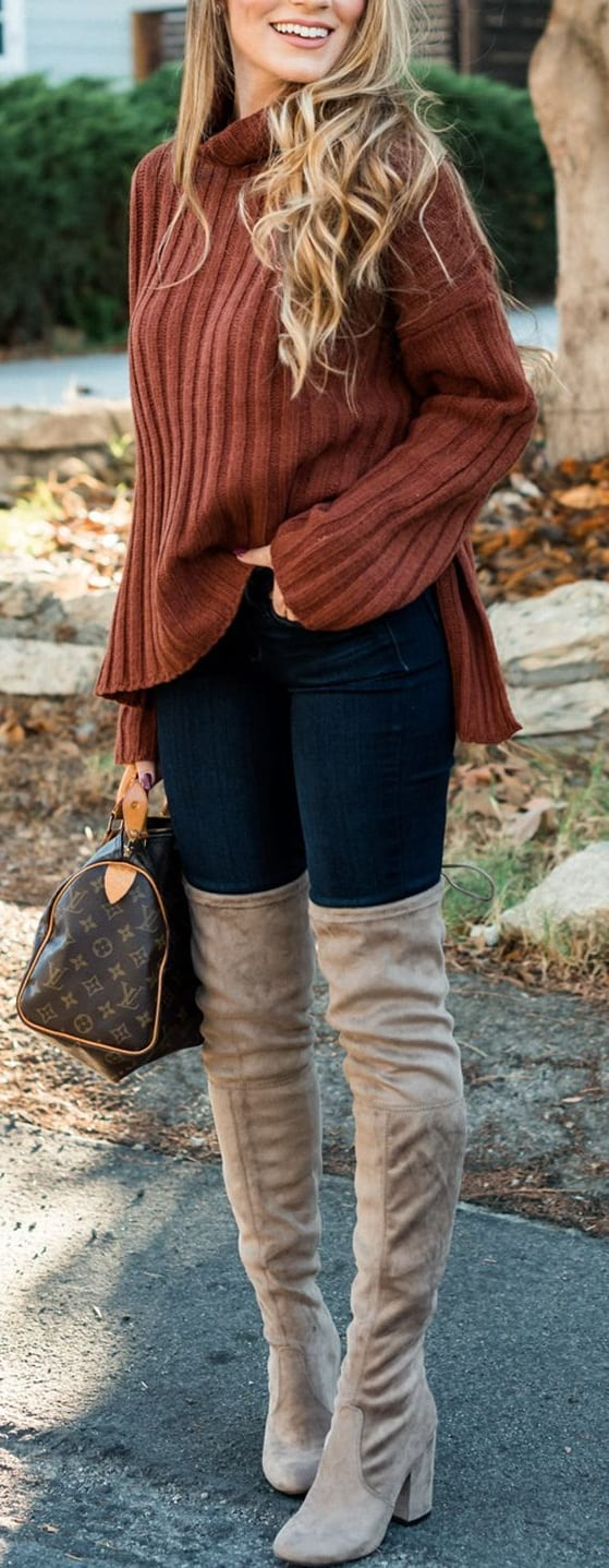 style Over The Knee Boots with t shirts