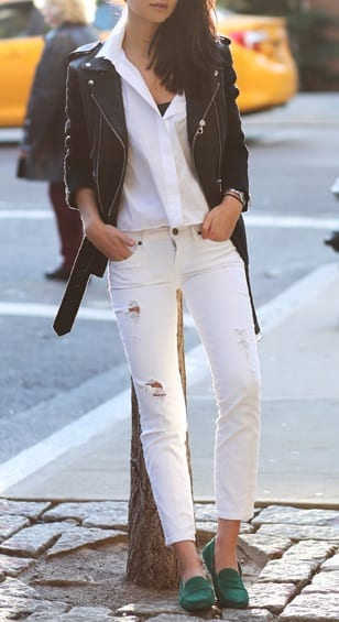 style driving loafers with ripped jeans