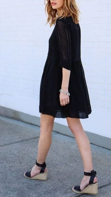 style espadrille sandals with mini dress