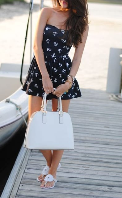style flat flip flops with tube dress