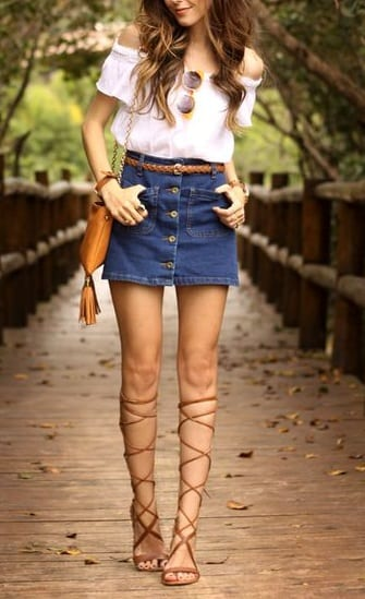 style gladiator sandals with mini skirts