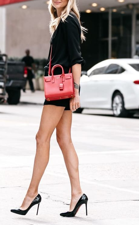 style heels with casual shorts