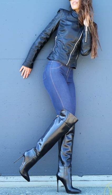 style high heel boots with jeans