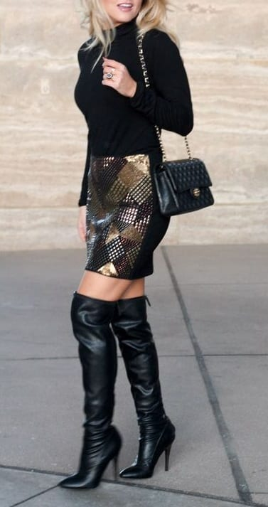 style high heel boots with mini skirts