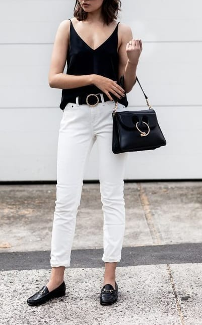 style loafers with casual pants