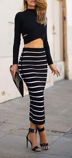 style sandals with A line long skirts