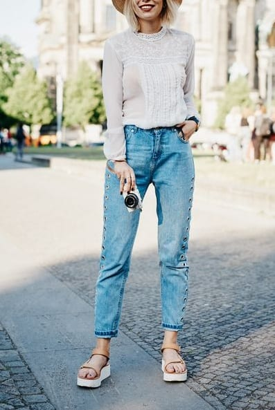 style sandals with casual jeans
