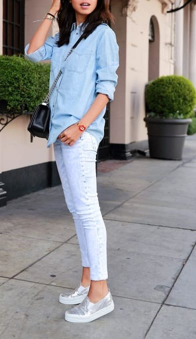 style slip on sneakers with denim shirt