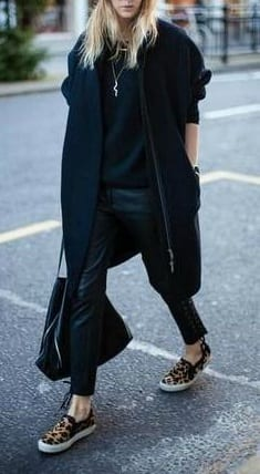 style slip on sneakers with over coats