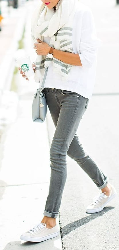 style sneakers with jeans