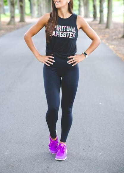 style sports shoes with gym outfit