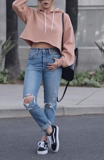 style your footwear with crop hoddies