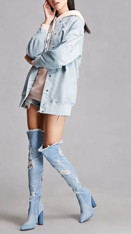 style chunky heels with denim jackets