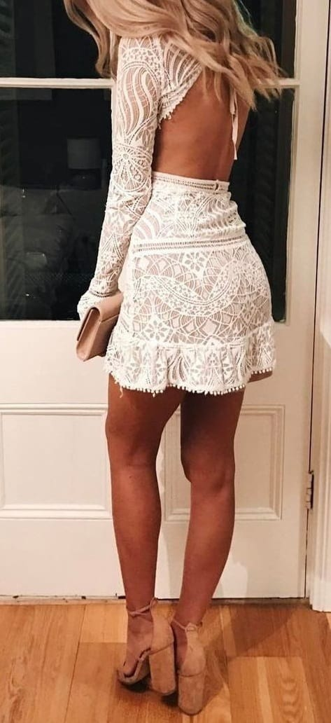 style chunky heels with mini dress