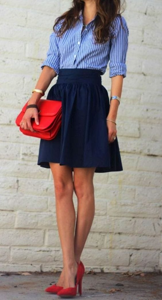 style spool heels with mini skirts