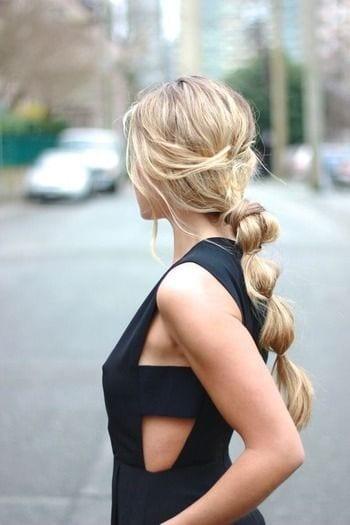 blonde bubble ponytail long