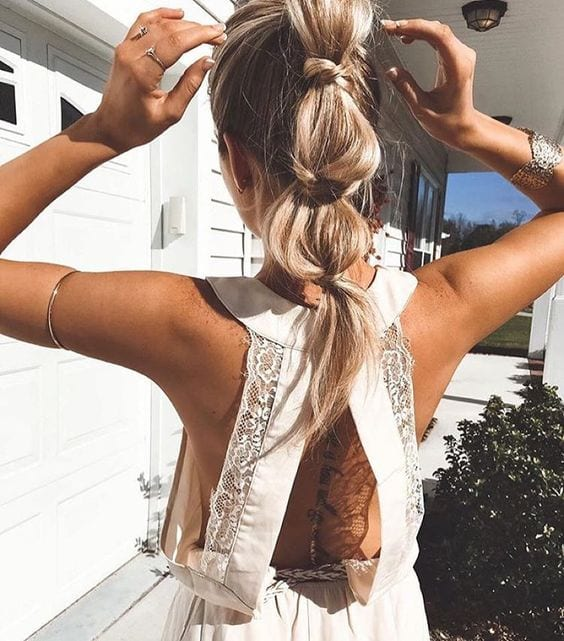 bubble ponytail boho style