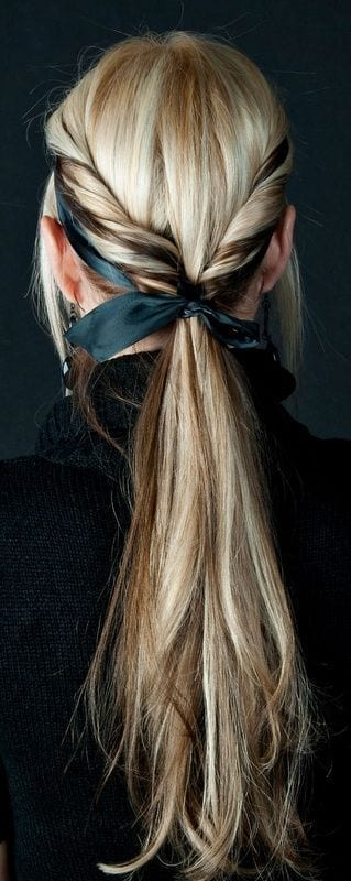 double side twisted ponytail